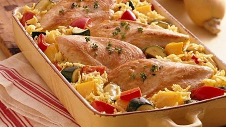 مرغ و برنج با سبزیجات پاییزی